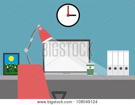Home workspace flat vector illustration