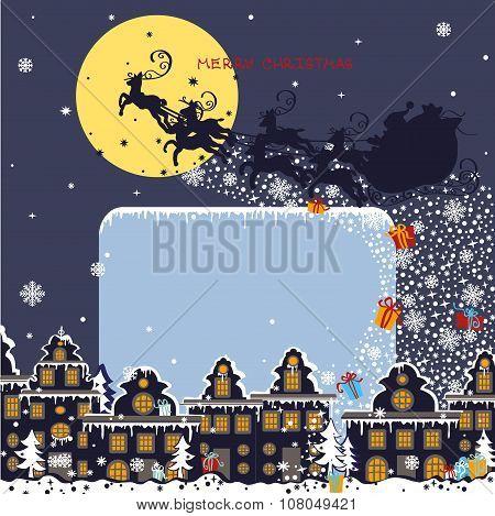 Christmas square card.Santa Claus coming to City