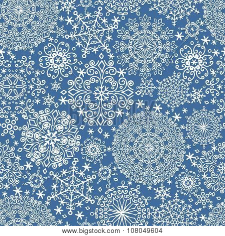 Snowflakes seamless pattern.Winter lace