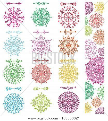 Snowflakes shapes,divider borders set,pattern