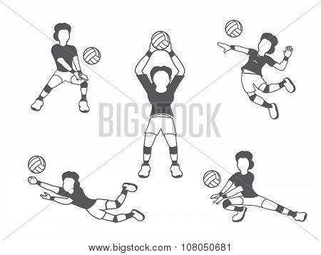 Volleyball woman player set