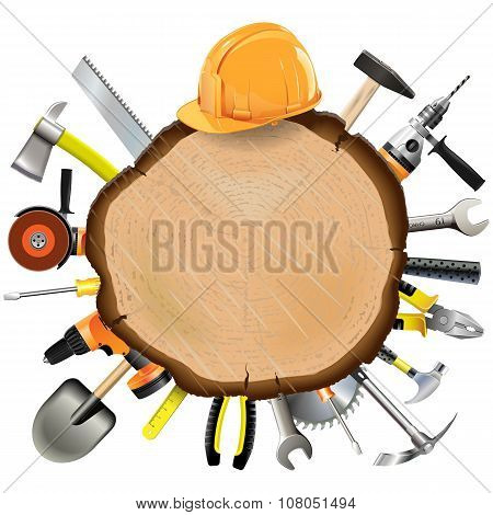 Vector Construction Wooden Board With Tools