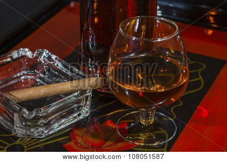 Glass Of Whisky And Cigar