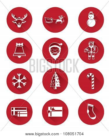 Modern flat icons of Santa claus and Christmas Day