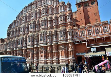Jaipur, India - December 29, 2014: Unidentified Tourists Visit Hawa Mahal  In Jaipur