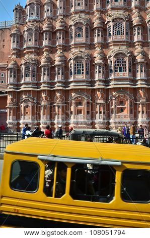 Jaipur, India - December 29, 2014: Unidentified Tourists Visit Hawa Mahal