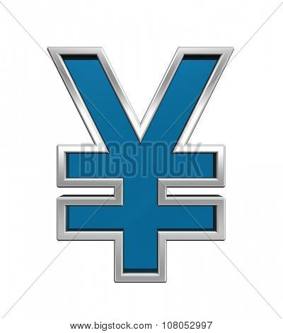 Yen sign from blue glass with chrome frame alphabet set, isolated on white. Computer generated 3D photo rendering.