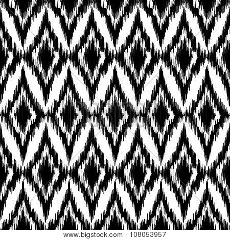 Vector Seamless Black And White Ikat Ethnic Pattern