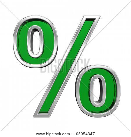 Percent sign from green glass with chrome frame alphabet set, isolated on white. Computer generated 3D photo rendering.