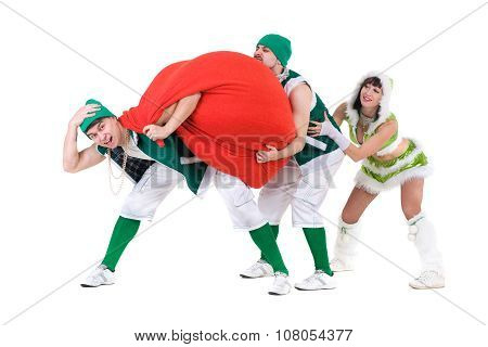 friendly people dressed like a funny gnomes dancing, isolated on white