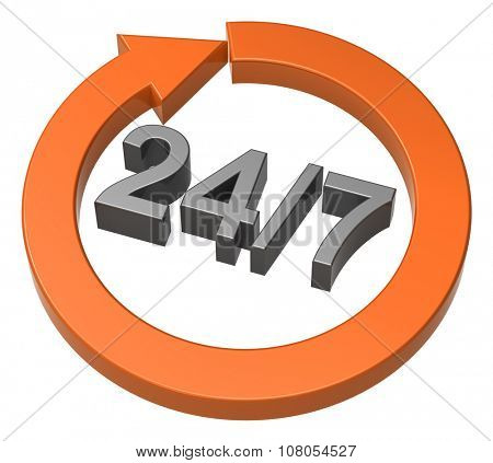 24 hours seven days a week sign over white. Computer generated 3D photo rendering.