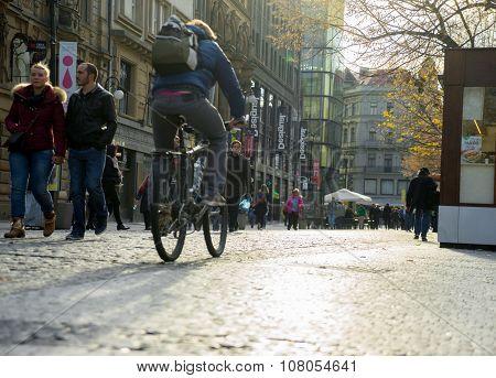 Prague, Czech Republic - November 09, 2015: People On The Streets Of Prague