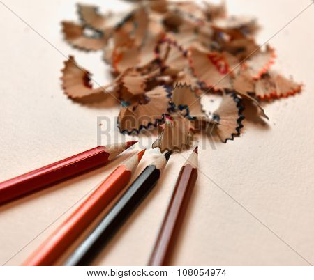 Colored Pencils And Pencil Shavings