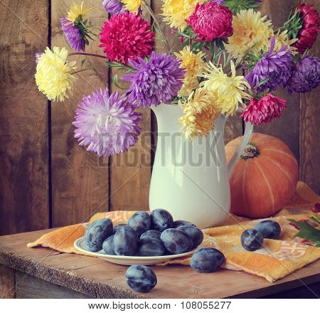 Still Life With Asters And Plums.