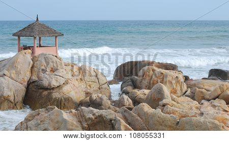 The gazebo restaurant on a huge boulder