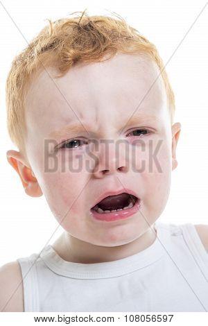 baby boy portrait cry isolated white background