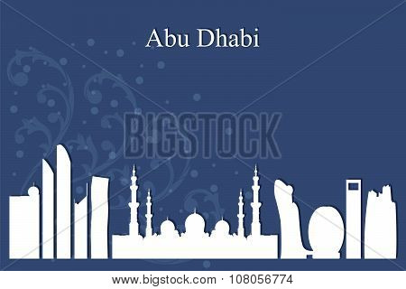 Abu Dhabi City Skyline Silhouette On Blue Background