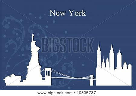 New York City Skyline Silhouette On Blue Background