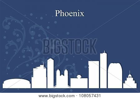 Phoenix City Skyline Silhouette On Blue Background