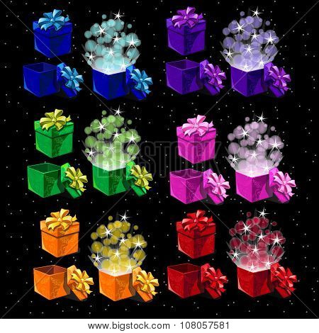 Set of colored magic boxes for all occasions, open and closed boxes