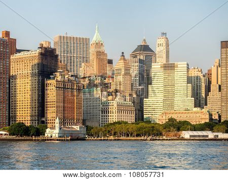 The skyline of Lower Manhattan and Battery Park in New York City