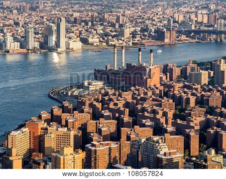 The East Village and the Con Edison East River generating station in New York City