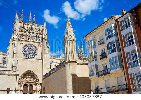 Burgos Cathedral facade in Saint James Way at Castilla Leon of Spain