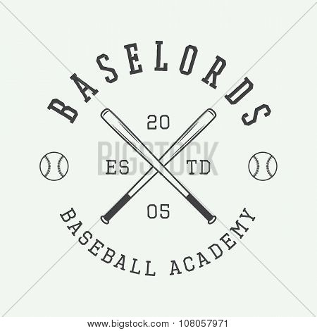 Vintage Baseball Logo, Emblem, Badge And Design Elements. Vector Illustration