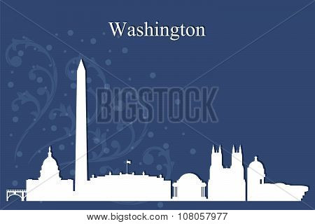 Washington City Skyline Silhouette On Blue Background