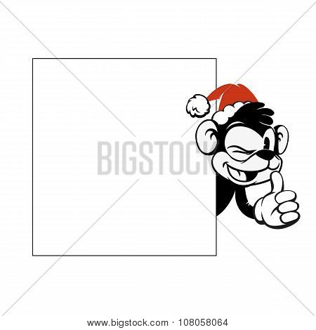 Smiley monkey head in Christmas red hat peeking from behind a blank banner.