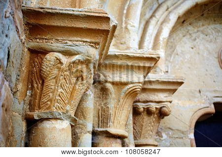 The way of Saint James church columns in Zariquiegui Navarra Spain