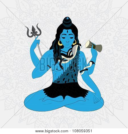 Lord Shiva. Hindu gods vector illustration. Indian Supreme God Shiva sitting in meditation.