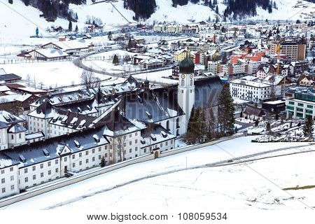 Aerial view of Engelberg, Switzerland, a snowy village in the mountains