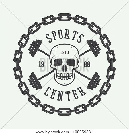 Vintage Gym Logo, Emblem, Badge, Label Or Watermark With Skull And Equipment In Retro Style.