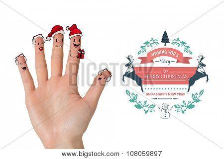 Christmas caroler fingers against merry christmas message