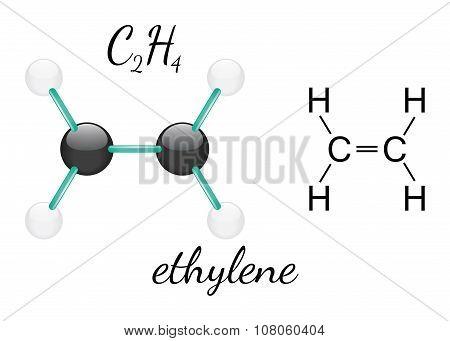 C2H4 ethylene molecule
