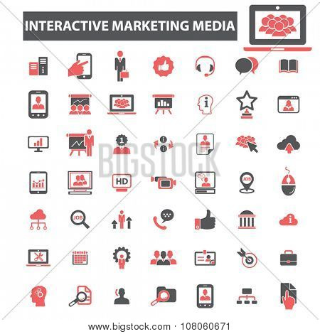 interactive social media, innovation technology, creative business icons, signs vector concept set for infographics, mobile, website, application