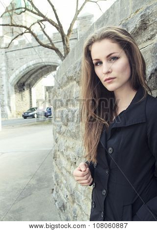 Young girl in city street