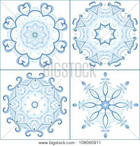 Set of four colorful mandala. Decorative vector disign elements