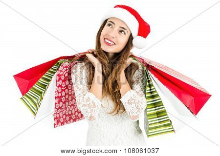 Christmas Woman With Shopping Bags Looking To Copy Space