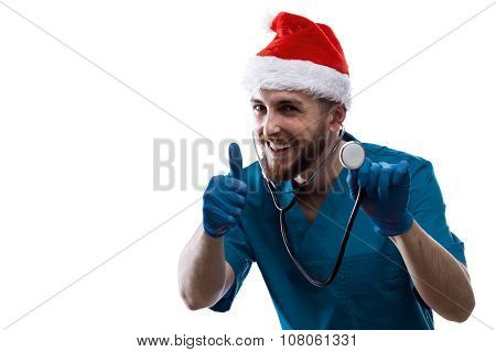Man Doctor Surgeon In Christmas Santa Hat