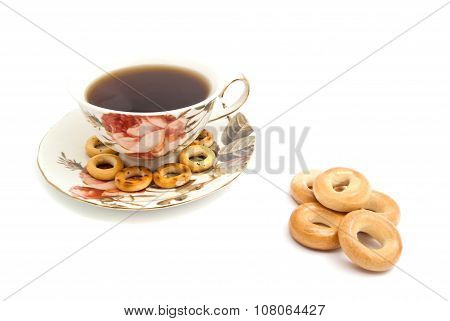 Different Bagels And Cup Of Tea