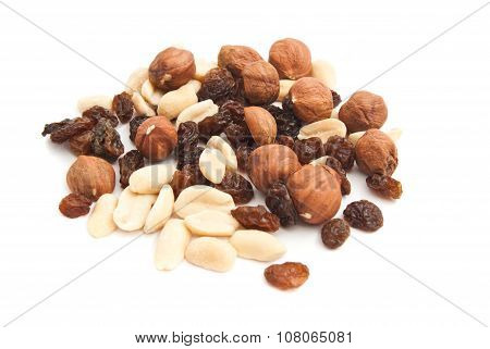 Hazelnuts, Raisins And Peanuts