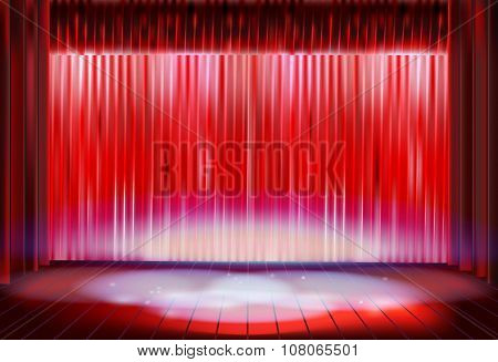 Stage curtain before the performance. Vector illustration.