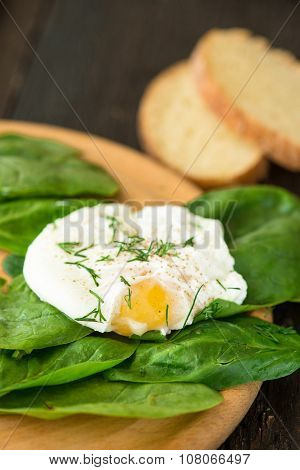 Poached Egg On A Piece Of Bread With Spinach On The Table