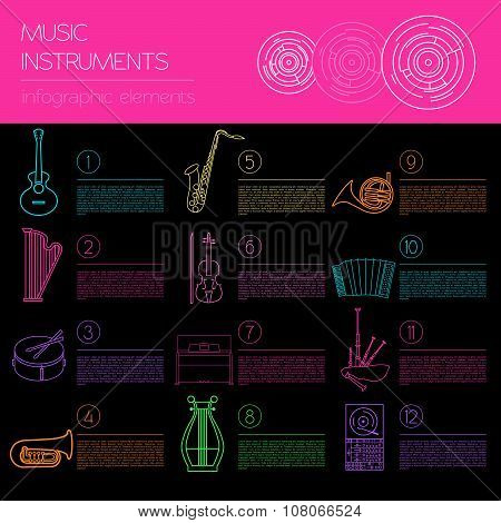 Musical instruments graphic template. All types of musical instruments infographic.