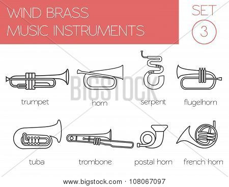 Musical instruments graphic template. Wind brass.