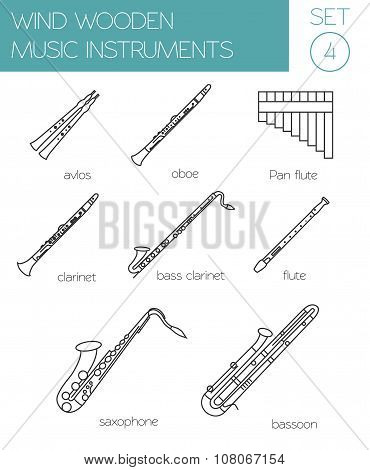 Musical instruments graphic template. Wind wooden.