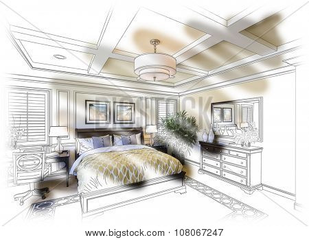 Beautiful Custom Bedroom Design Drawing and Photo Combination. The framed art is photographer's copyright.