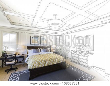 Beautiful Custom Bedroom Drawing Gradation Into Photograph. The framed art is photographer's copyright.